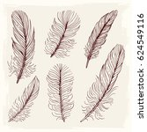 set illustration with feathers. ... | Shutterstock .eps vector #624549116