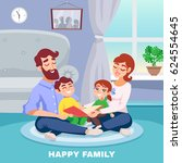 happy family in home interior... | Shutterstock .eps vector #624554645