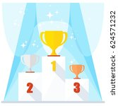victory podium with first ... | Shutterstock .eps vector #624571232