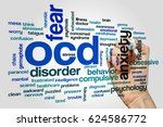 Small photo of OCD word cloud on grey background