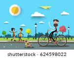 man on bicycle with two women.... | Shutterstock .eps vector #624598022