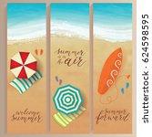 set of vector summer travel... | Shutterstock .eps vector #624598595