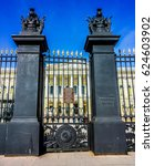 Small photo of St. Petersburg, Russia, April 20, 2017: Beautiful ornate fence of The State Russian Museum of His Imperial Majesty Alexander III (inscription on the fence plate: State Russian Museum)