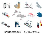 isometric airport travel and...   Shutterstock .eps vector #624605912