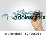 Small photo of Adolescence word cloud concept on grey background.