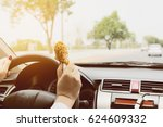 business woman driving car... | Shutterstock . vector #624609332