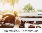 business woman driving car... | Shutterstock . vector #624609332