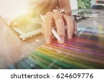 creative working with mobile... | Shutterstock . vector #624609776