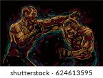 two fighting man  aggressive...   Shutterstock .eps vector #624613595