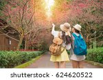 happy friends pointing with...   Shutterstock . vector #624620522