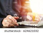 close up of businessman hand... | Shutterstock . vector #624621032
