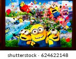 "Small photo of OSAKA, JAPAN - APR 14, 2017 : Photo of ""MINION PARK"" information wall poster, located in Universal Studios JAPAN, Osaka, Japan. Minion Park is 21 Apr 2017 open."