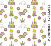 seamless baby pattern with cute ... | Shutterstock .eps vector #624622586