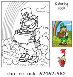 leprechaun with pot of gold.... | Shutterstock .eps vector #624625982