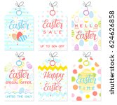 set of creative easter cards... | Shutterstock .eps vector #624626858