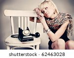 woman with vintage  phone... | Shutterstock . vector #62463028