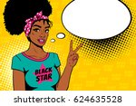 comic girl. sexy african... | Shutterstock .eps vector #624635528