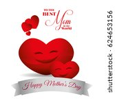 cute red hearts hapy mothers... | Shutterstock .eps vector #624653156