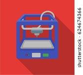3d printer in flate style... | Shutterstock .eps vector #624674366