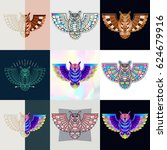 set of owl logos. abstract... | Shutterstock .eps vector #624679916