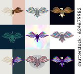 set of eagle logos. abstract... | Shutterstock .eps vector #624679982