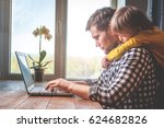 father and son working on... | Shutterstock . vector #624682826