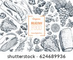 healthy food frame vector... | Shutterstock .eps vector #624689936