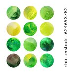 Watercolor Green Circles With...