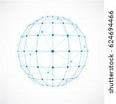 3d digital wireframe spherical... | Shutterstock . vector #624694466
