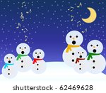 A choir of snowmen sing under a moon on blue sky with musical notes. - stock vector
