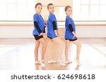 cute little girls in dance... | Shutterstock . vector #624698618
