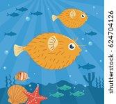 illustration of puffer fish... | Shutterstock .eps vector #624704126