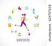 man running of healthy... | Shutterstock .eps vector #624707618