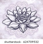 vector lotus flower  ethnic art ... | Shutterstock .eps vector #624709532