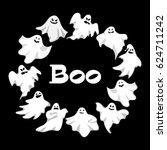 cartoon spooky ghost character... | Shutterstock . vector #624711242
