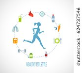man running of healthy... | Shutterstock .eps vector #624737546