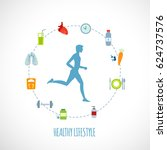 man running of healthy... | Shutterstock .eps vector #624737576
