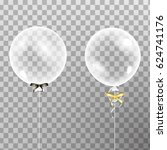 set of shiny glossy balloons.... | Shutterstock .eps vector #624741176