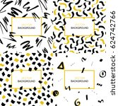 set of hand drawn black and... | Shutterstock .eps vector #624742766