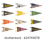 set of adventure pennants.... | Shutterstock . vector #624743078