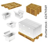 set of cardboard boxes and wood ... | Shutterstock .eps vector #62474569