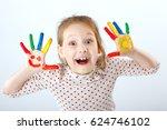 cute cheerful kid girl showing... | Shutterstock . vector #624746102