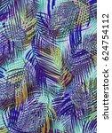 tropical leaves   Shutterstock . vector #624754112
