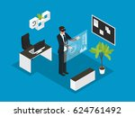 isometric business people... | Shutterstock .eps vector #624761492