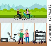 flat active recreation... | Shutterstock .eps vector #624761552