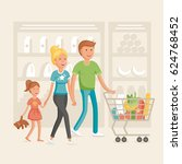 family in shop illustration | Shutterstock .eps vector #624768452
