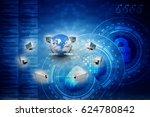 3d rendering computer network | Shutterstock . vector #624780842