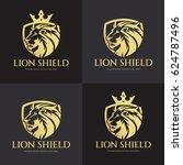 lion shield logo design... | Shutterstock .eps vector #624787496