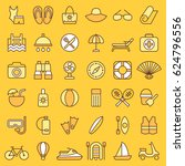 set of beach icons. vector... | Shutterstock .eps vector #624796556