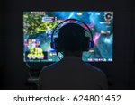 young gamer playing video game... | Shutterstock . vector #624801452